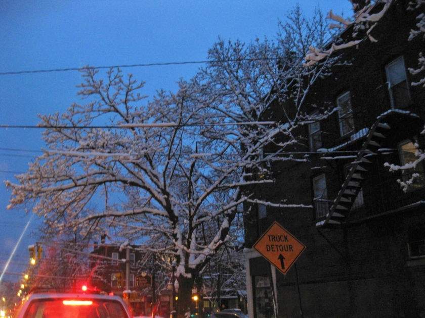 Car and street light illumination after snow