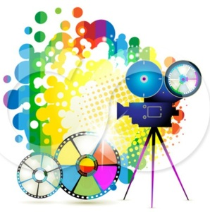 1099375-clipart-movie-camera-filming-over-a-rainbow-splatter-and-film-reels
